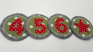 3 Zusatzzahlen - Wechselzahlen für Geburtstagskrone - handgemacht - in Wunschfarben - Klettzahlen