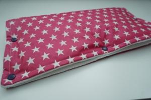 Kinderwagenmuff Sterne pink mit Teddyplüsch - wasserabweisend - handgenäht