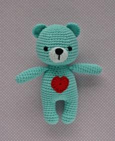 Häkeltier Teddy Bär Mini helltürkis aus Baumwolle Handarbeit - Handarbeit kaufen