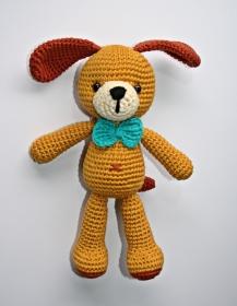 Häkelspielzeug Hund Bruno gehäkelt honiggelb, Bio - Baumwolle   - Handarbeit kaufen