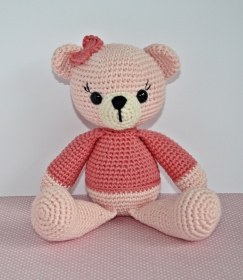 Häkelspielzeug  Kuscheltier Häkeltier gehäkelter Teddy  Bärenmädchen Amelie rosa - Handarbeit kaufen