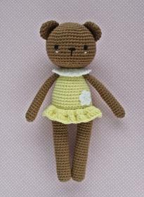 Häkelspielzeug  Kuscheltier Häkeltier gehäkelter Teddy  Bärenmädchen Luisa braun/gelb - Handarbeit kaufen