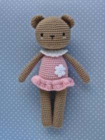 Häkelspielzeug  Kuscheltier Häkeltier gehäkelter Teddy  Bärenmädchen Luisa hellbraun/rosa - Handarbeit kaufen