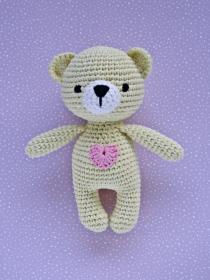 Häkeltier Teddy Bär Mini hellgelb aus Baumwolle Handarbeit - Handarbeit kaufen