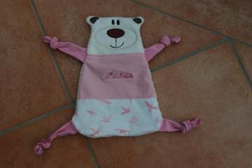 Schnuffeltuch Bär rosa mit Namen