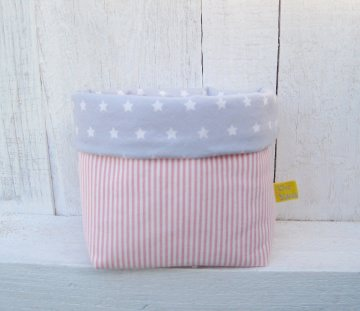 Utensilo klein Sternenhimmel grau-rosa Babyzimmer handgemacht