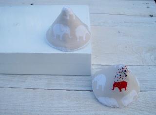 2er Set Wickelhütchen, Pipi-Tipi beige weiß Elefanten handgemacht