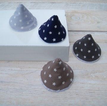 4er Set Wickelhütchen, Pipi-Tipi Sterne grau braun-blau, handgemacht