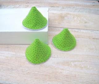 3er Set Wickelhütchen, Pipi-Tipi grün, Punkte blau handgemacht