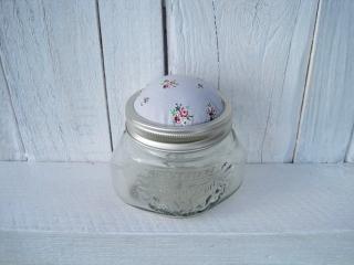 Nadelkissen oder Nähglas Rosen grau handgemacht