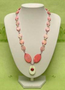 Perlmuttkette in Rot/ Rosa mit Ohrringen  - Handarbeit kaufen