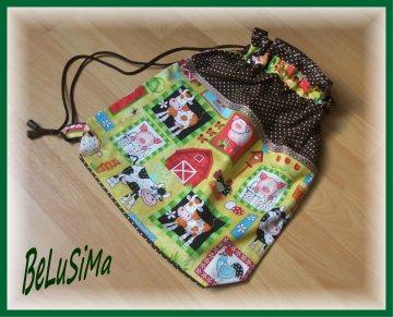 Turnbeutel, Tragebeutel mit Bauernhof-Motiv, Handarbeit mit ♥ von Belusima, inclusive Wunschname