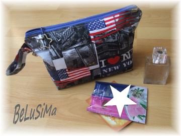 Kosmetiktasche, Waschtasche ♥ I love New York ♥ Handarbeit mit ♥ von Belusima