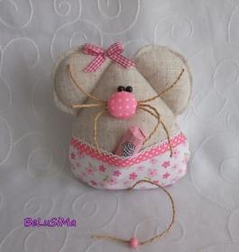 Mäuschen rosafarben mit Taschenversteck für Süßes, Gutschein oder Geldgeschenk, Handarbeit mit ♥ von Belusima