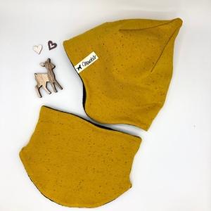 Set Mütze, Halssocke, Zipfelmütze, Kindermütze, in senf, 52-53 cm, von Mausbär