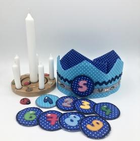 Geburtstagskrone, Krone für Mädchen und Jungen, hellblau, von Mausbär - Handarbeit kaufen