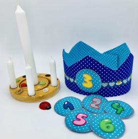 Geburtstagskrone, Krone für Mädchen und Jungen, blau, von Mausbär