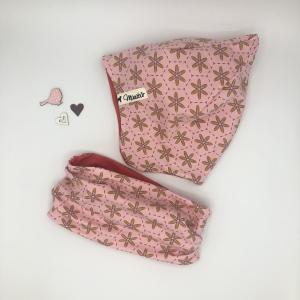 Zipfelmütze, KU  52 - 53 cm, Zwergenmütze, Kindermütze, rosa, Blumen, von Mausbär - Handarbeit kaufen