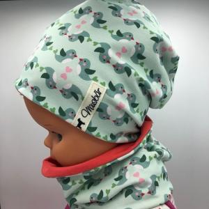 Beanie mit Loop, 47 - 50 cm cm, Set, Beanie, Loop, Mütze,  Schal - Handarbeit kaufen