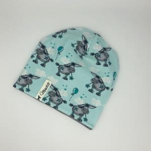 Beanie, Mütze, Wendemütze,doppellagig, Eselchen, 47 - 50cm KU von Mausbär - Handarbeit kaufen