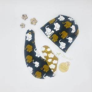 Mütze und Tuch, KU 34-38 cm, zweiteiliges Neugeborenen Set, von Mausbär - Handarbeit kaufen
