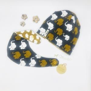 Zweiteiliges Baby - Set , Halstuch + Mütze für Baby Größe 62 /68 von Mausbär - Handarbeit kaufen