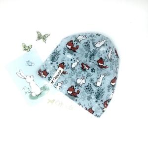 Mütze, KU 50 - 53 cm, Beanie , einlagig, Sommermütze, kleiner Fuchs & Häschen, von Mausbär  - Handarbeit kaufen