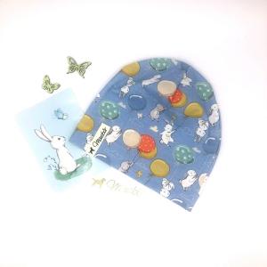 Mütze, Beanie , einlagig, Sommermütze, Birthday Bunny, KU 50 - 53, von Mausbär  - Handarbeit kaufen