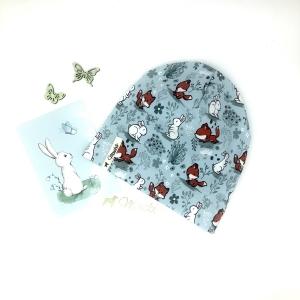 Mütze, KU 47 - 50 cm, Beanie , einlagig, Sommermütze, Fuchs und Hase , von Mausbär  - Handarbeit kaufen