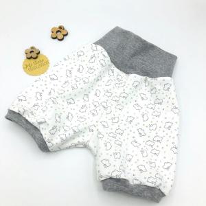 kurze Pumphose, Mitwachshose, Shorts,  Größe 56 -62, Häschen, von Mausbär