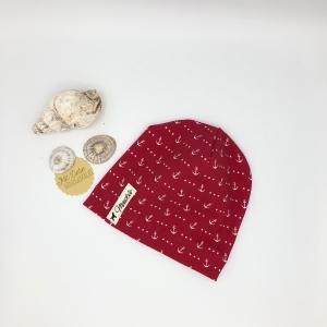 Mütze, Beanie , einlagig, Sommermütze, Anker, KU 39 - 43 cm, von Mausbär