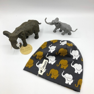 Mütze, Beanie , einlagig, Sommermütze, Elefantenparade, KU 39 - 43 cm, von Mausbär