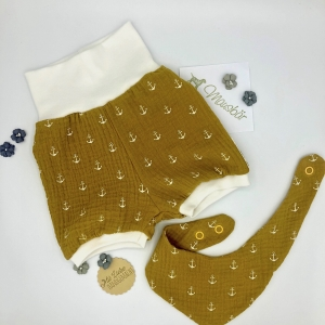 kurze Pumphose mit Tuch, Mitwachshose, Sommerhose,  Größe 56 - 62, Musselin, von Mausbär - Handarbeit kaufen
