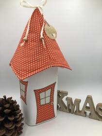 Lichthaus,  ca. 34 cm,  Wichtelhäuschen,  Weihnachtshaus,  Weihnachtslampe,   Weihnachtsdeko, Fensterdeko, orange