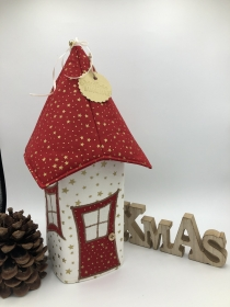 Lichthaus,  ca. 34 cm,  Wichtelhäuschen,  Weihnachtshaus,  Weihnachtslampe,   Weihnachtsdeko, Fensterdeko, rot, gold