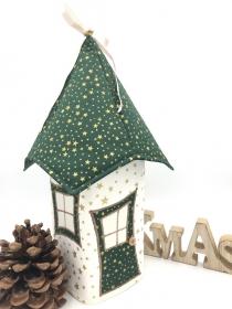 Lichthaus,  ca. 34 cm,  Wichtelhäuschen,  Weihnachtshaus,  Weihnachtslampe,   Weihnachtsdeko, Fensterdeko, grün, gold - Handarbeit kaufen