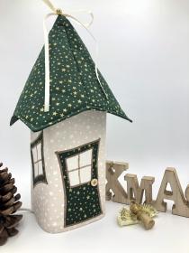Lichthaus,  ca. 34 cm,  Wichtelhäuschen,  Weihnachtshaus,  Weihnachtslampe,   Weihnachtsdeko, Fensterdeko, grün, gold