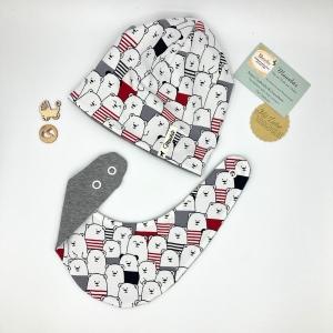 Zweiteiliges Neugeborenen Set, für Baby KU 39-43cm , Halstuch + Mütze, Ahoibären, von Mausbär - Handarbeit kaufen