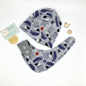 Zweiteiliges Neugeborenen Set ,für Baby KU 39-43cm ,Halstuch + Mütze, Piratenbären,  von Mausbär