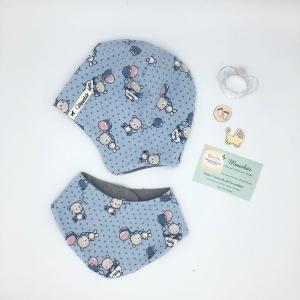 Mütze und  Tuch, KU 35 - 39cm,  beidseitig tragbar Zweiteiliges Neugeborenen Set,Halstuch + Öhrchenmütze - Handarbeit kaufen