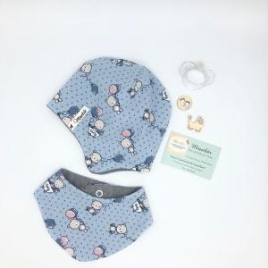 Mütze Tuch beidseitig tragbar Zweiteiliges Neugeborenen Set ,KU 35 - 39cm ,Halstuch + Öhrchenmütze,  von Mausbär
