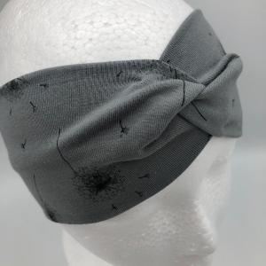 Stirnband, Haarband , Bandeau , Boho-Stirnband 54 - 57 cm, grau mit Pusteblumen