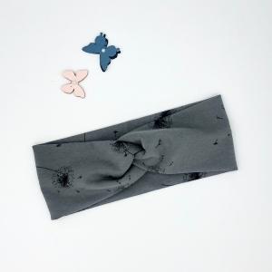 Stirnband, Haarband , Bandeau , Baby Stirnband 36 - 40 cm, grau mit Pusteblumen - Handarbeit kaufen