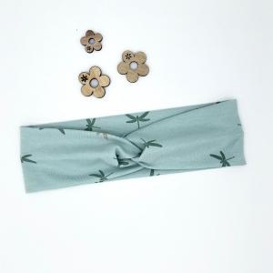 Stirnband, KU  48 -53 cm, Haarband, Bandeau, Boho-Stirnband, mint mit Libellen - Handarbeit kaufen