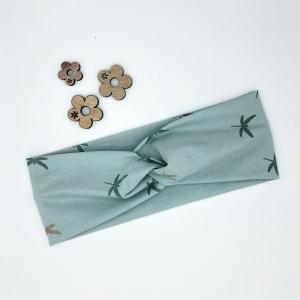 Stirnband, Haarband , Bandeau , Boho-Stirnband 48 -53 cm, mint mit Libellen