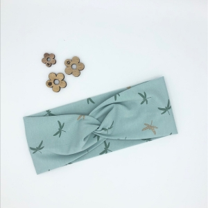 Stirnband, Haarband , Bandeau , Boho-Stirnband 54 - 57 cm, mint mit Libellen
