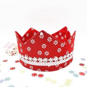 Geburtstagskrone, Krone, rot, geblümt, größenverstellbar, von Mausbär - Handarbeit kaufen