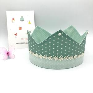 Geburtstagskrone, Krone, mint, für Mädchen, größenverstellbar, von Mausbär - Handarbeit kaufen