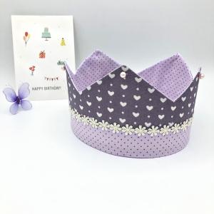 Geburtstagskrone, Krone, Kinderkrone, altrosa, größenverstellbar, von Mausbär