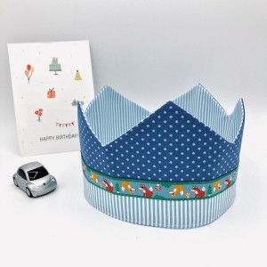Geburtstagskrone, Krone, blau, für Jungen, größenverstellbar, von Mausbär